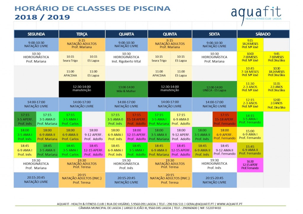 Aquafit classes de piscina hor rio 2018 2019 for Olympia piscina horarios