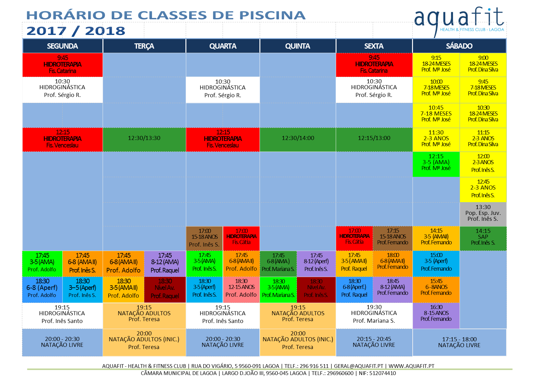 aquafit classes de piscina hor rios 2017 2018
