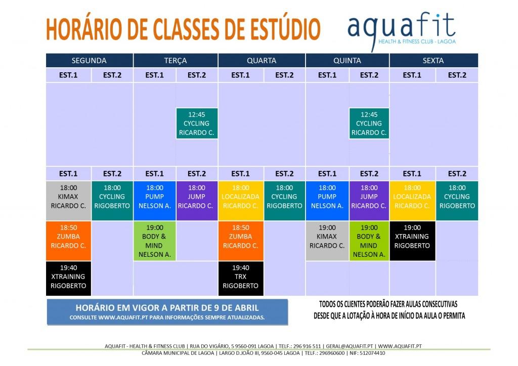 HORÁRIOS 2017-2018 - estúdios - A PARTIR DE 9 Abril