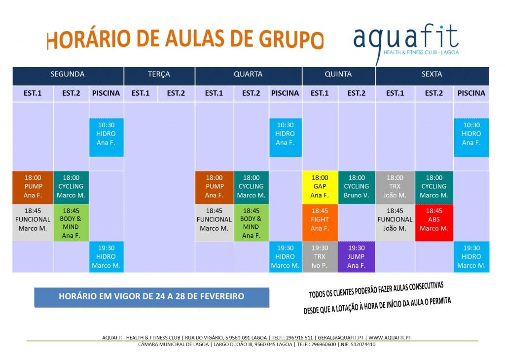 HORÁRIOS 2019-2020 - aulas de grupo - 24 A 28 DE FEVEREIRO